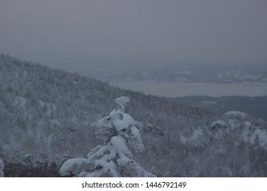 Landscape of winter roadside in Hokkaido, Japan