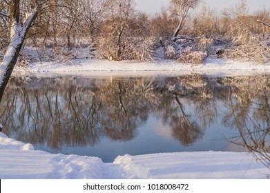 Landscape with winter trees, covered with snow, and the river, on sunny day.