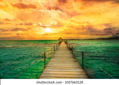Landscape of wooden bridge in Trou d'eau douce, Mauritius