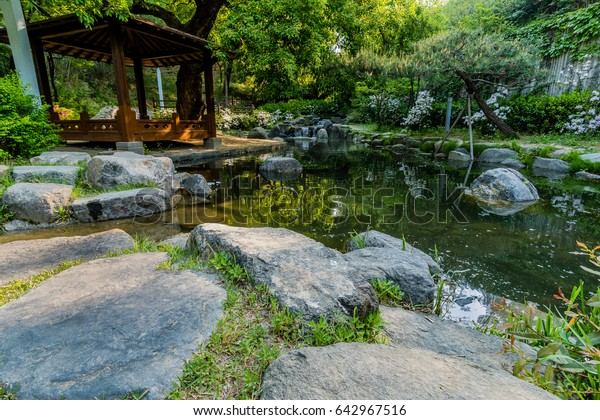 Landscape Wooden Gazebo Next Small Pond Stock Photo Edit Now 642967516