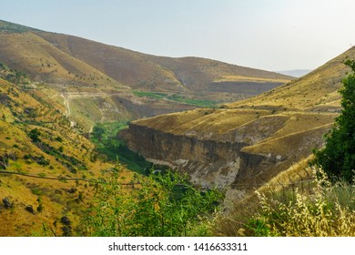 Landscape of the Yarmouk River valley, on the border between Israel and Jordan