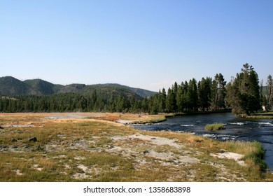 Landscape in Yellowstone national park in USA