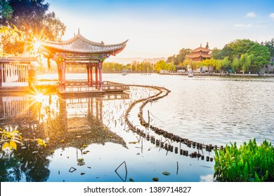 Landscape of Yunnan. Located in Dianchi lake, Kunming Daguan Park, Kunming, Yunnan, China.