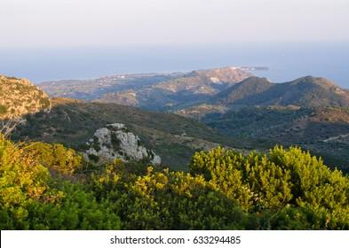 Landscape of Zakynthos mountains from Skopos hill - Greece