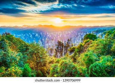 Landscape of Zhangjiajie. Located in Wulingyuan Scenic and Historic Interest Area which was designated a UNESCO World Heritage Site in china.