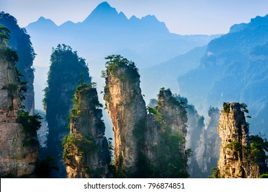 Landscape of Zhangjiajie. Taken from Old House Field. Located in Wulingyuan Scenic and Historic Interest Area (Wu Ling Yuan Feng Jing Ming Sheng Qu), Hunan, china.