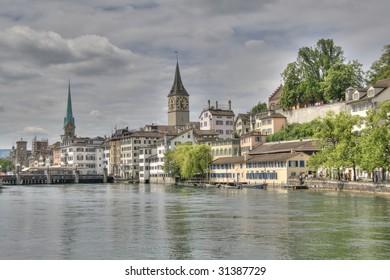 Landscape of Zurich city in center of Switzerland