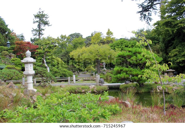 Landscaped Japanese Garden Walkways Pond Japanese Stock Photo