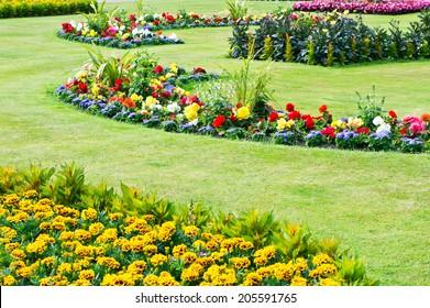 A landscaped public garden in the summer