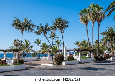 Landscaped walk next to the Martianez pools in the city of Puerto de la Cruz, Tenerife, Canary Islands