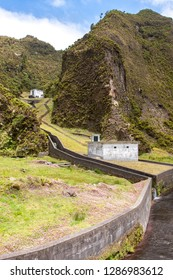 Landscapes with the architecture of the water channel, Lagoa do fogo, Sao Miguel, Azores, Portugal