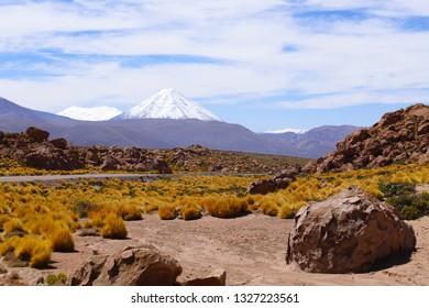 Landscapes of the Atacama Desert: view of Licancabur volcano along the road to the El Tatio geysers near the Termas de Puritama, Atacama Desert, Chile