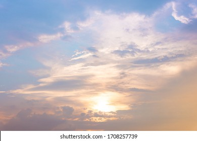 Landscapes of Beautiful blue sky and the sun above the clouds,  Shine in the time before the sunset, Gives lonely and romantic emotions.