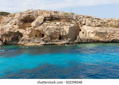 landscapes and coastlines of the island of Favignana