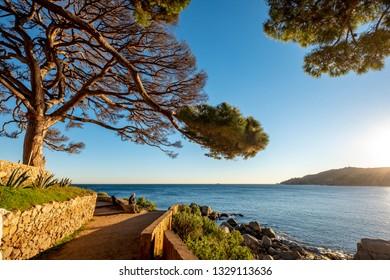 Landscapes of the Costa Brava from the Camino de Ronda of the fishing village of Calella in Catalonia Spain