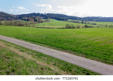 landscapes of eastern time at rural countryside in south germany on a sunny day in march near city of munich and stuttgart