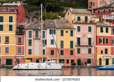 landscapes, houses and villas  on the coast of Portofino in Genoa in Italy