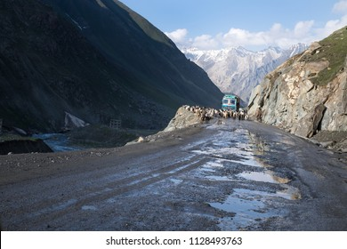 Landscapes of India country with the most dangerous road on the world. Mountains during a sunset or sunrise with golden sun. Himalayas amazing views. Indian Himalayas. Jammu and Kasmir state.