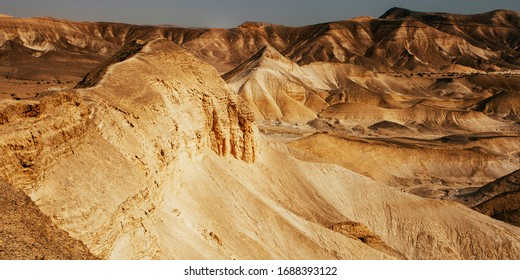 Landscapes of Israeli desert under the blue sky  in daytime