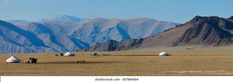 Landscapes of Mongolia, yurts, panorama