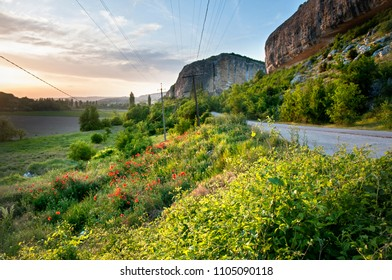 Landscapes of the mountainous Crimeain spring time .View close to the cave city of Kachi Kalion near Bakhchisaray