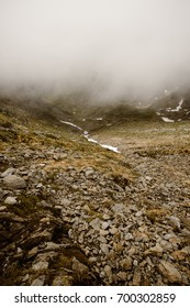 Landscapes of the mountains and the nature of the Sibiu region.  Mountains and forest landscape in Romania, Fagaras, Negoiu.