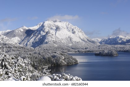 Landscapes of San Carlos de Bariloche in winter, tourist city of south Argentina, Patagonia. Known for its winter Ski Center.