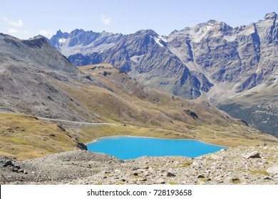 Landscapes of scenery of high mountain with blue lake and high peak in summer.