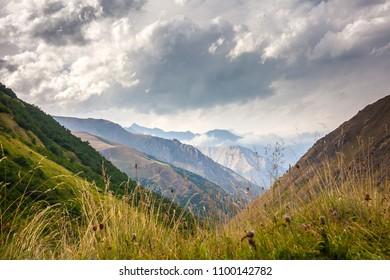 Landscapes of the Upper Khevsureti region in Georgia