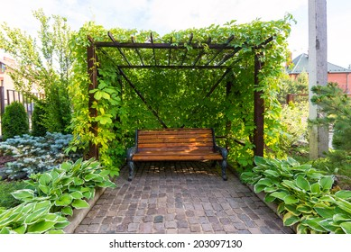 Landscaping in home garden. Beautiful overgrown arbor with wooden bench in summer. Green summerhouse in the yard. Landscape design in the backyard of residential house.