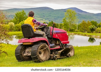 landscaping job for teenager. boy on a riding lawn mower cutting the grass. Back view. Copy space for your text.