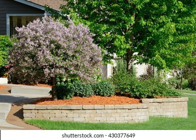 Landscaping and Retaining Wall at a Residential Home