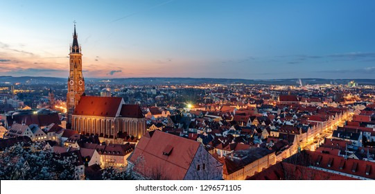 Landshut, Bavaria, Germany, panoramic view of St Martin's cathedral and the gothic Old town on sunset