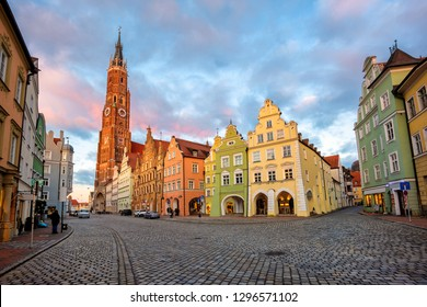 Landshut Old Town, Bavaria, Germany, is famous for its traditional colorful gothic style medieval houses and world's highest brick church tower