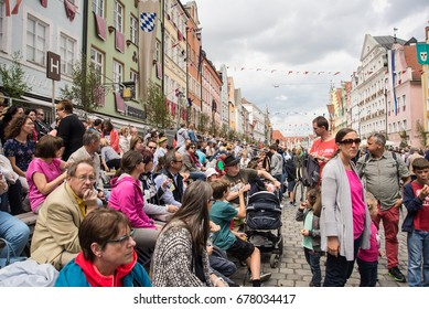 Landshut,Germany-April 15,2017: View of  the crowds watching the different shows walk by during the Landshut Weddings