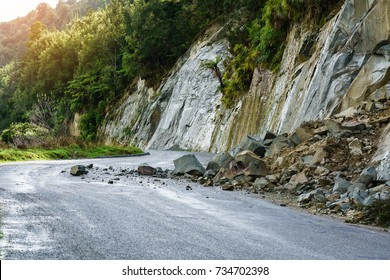 Landslide after heavy raining on Whanganui river road in National Park in Autumn , Whanganui , North Island of New Zealand