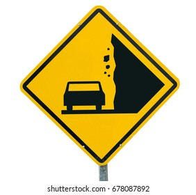 Landslide, Caution falling rocks Sign Yellow traffic sign on the isolated on white background