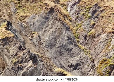 Landslide detail in clayey soil