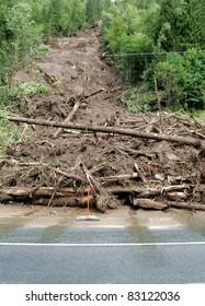 Landslide on the highway