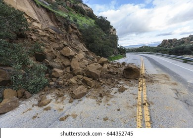 Landslide rocks blocking Santa Susana Pass Road in Los Angeles, California.