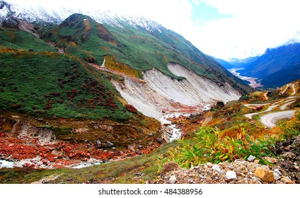 Landslides due to rain in mountain slopes of Sikkim, India.