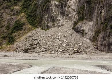 Landslides and falling rocks near Fox Glacier, New Zealand