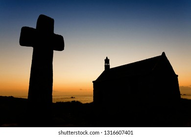 LANDUNVEZ, FRANCE - JULY 11, 2006: chapel of Saint Samson and its cross calvary in far western Bretagne, France.