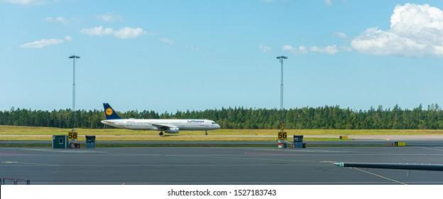 Landvetter, Sweden - August 2 2019: Lufthansa D-AIDJ Airbus A321-200 at Landvetter GOT airport.