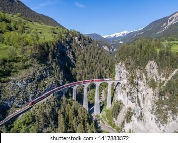 Landwasser viaduct, Filisur. Aerial view May 2019