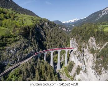 Landwasser viaduct, Rhaetian Railway. Unesco world Heritage in the Swiss Alps.