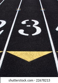 Lane 3 of a track and field track.