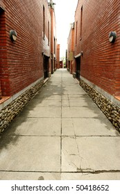 a lane between two row houses