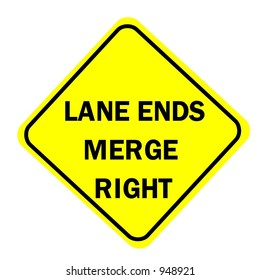Lane ends merge right Sign isolated on a white background
