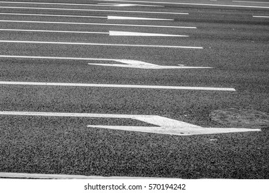 Lane markings and direction of movement on the asphalt road. Street in the city center. A vacation in Russia, Yekaterinburg.